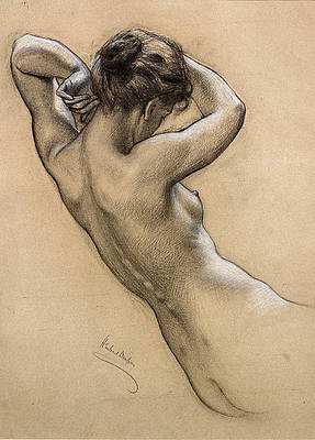 Study of Florrie Bird for a water nymph in Prospero Summoning Nymphs and Deities Print by Herbert James Draper