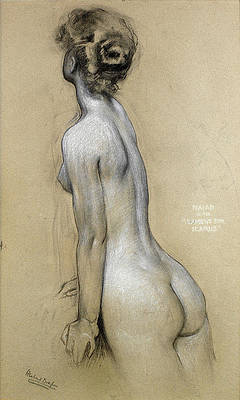 Study of Florrie Bird for The Lament for Icarus Print by Herbert James Draper