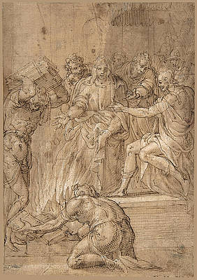 The Cumaean Sibyl before Tarquin the Proud Print by Niccolo dell Abbate