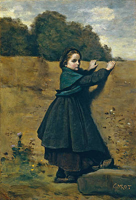 The Curious Little Girl Print by Jean-Baptiste-Camille Corot