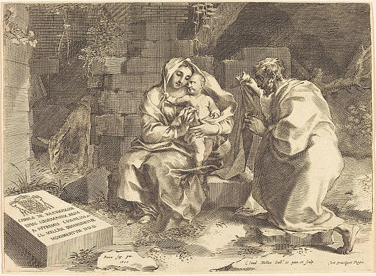 The Holy Family Print by Claude Mellan