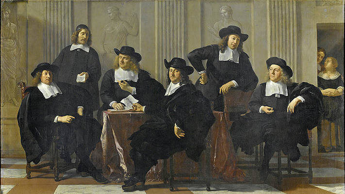 The Regents Of The Spinhuis And Nieuwe Werkhuis, Amsterdam Print by Karel Dujardin