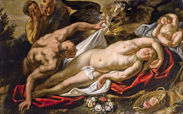 The sleeping Antiope approached by Jupiter Print by Jacob Jordaens