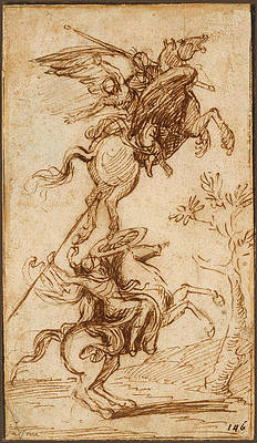 The Sorcerer Atlante Abducting Pinabello's Lady Print by Nicolas Poussin