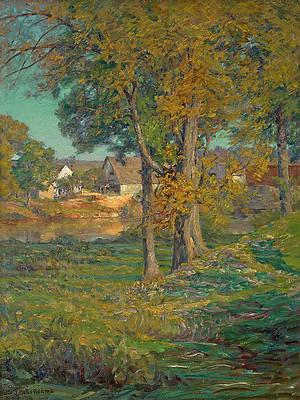 Thornberry's Pasture, Brooklyn, Indiana. An Indiana Farm Print by John Ottis Adams