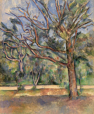 Trees and Road Print by Paul Cezanne