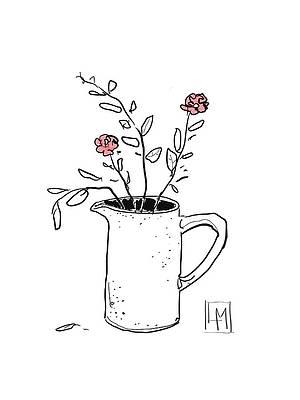 Рисунок дикого цветка - два цветка Луизы Миллисент