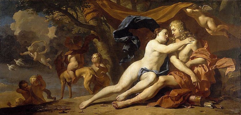 Venus trying to prevent Adonis from going hunting Print by Karel Dujardin