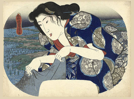 Woman washing clothes Print by Utagawa Kuniyoshi