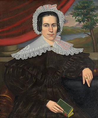 Woman with a Green Book. Louisa Gallond Cook Print by Erastus Salisbury Field