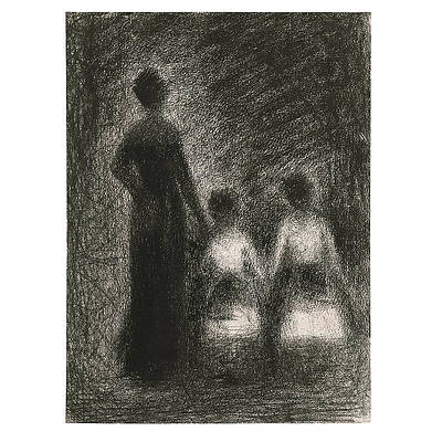 Woman With Two Girls Print by Georges Seurat