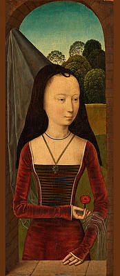 Young Woman with a Pink Print by Hans Memling and Workshop