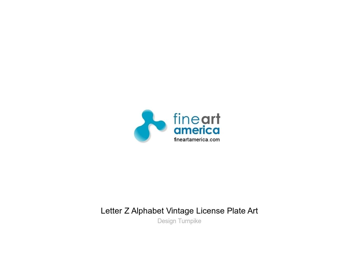 Letter Z Alphabet Vintage License Plate Art Greeting Card