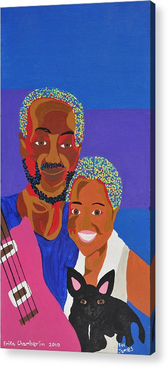 Portrait Acrylic Print featuring the painting James And Monique by Erika Chamberlin