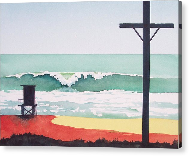 Surf Acrylic Print featuring the painting 14th Street Huntington Beach by Philip Fleischer