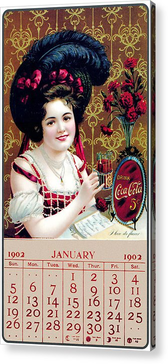 Coca Cola Acrylic Print featuring the photograph Coca - Cola Vintage Calendar by Gianfranco Weiss