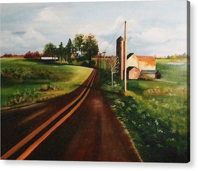 Farm Acrylic Print featuring the painting Country Road by Peggy Martin