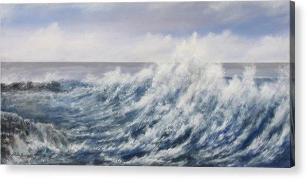 Landscape Acrylic Print featuring the painting Breaking Wave by Sheila Banga