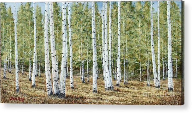 Fall Painting Acrylic Print featuring the painting Aspen South Saddle Blue Mtn 24 X 48 by Dana Carroll