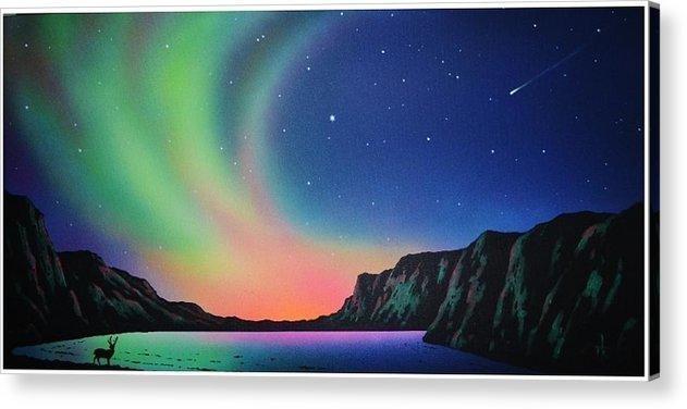 Aurora Borealis Acrylic Print featuring the painting Aurora Borealis with Deer by Thomas Kolendra