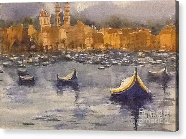 Boats Acrylic Print featuring the painting Boats In Malta by Gail Heffron