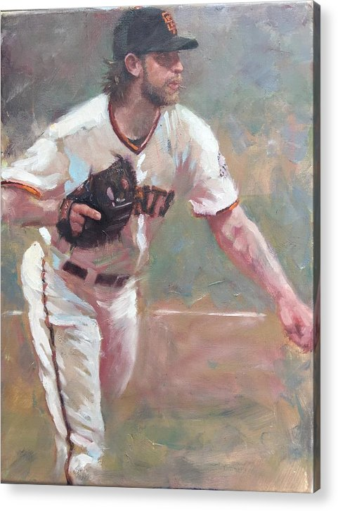 Madison Bumgarner Painting Sf Giants Baseball Artwork Acrylic Print featuring the painting Bumgarner 2014 NLCS by Darren Kerr