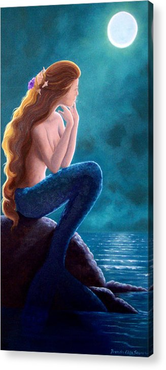 Mermaid Art Acrylic Print featuring the painting Contemplation by Brenda Ellis Sauro