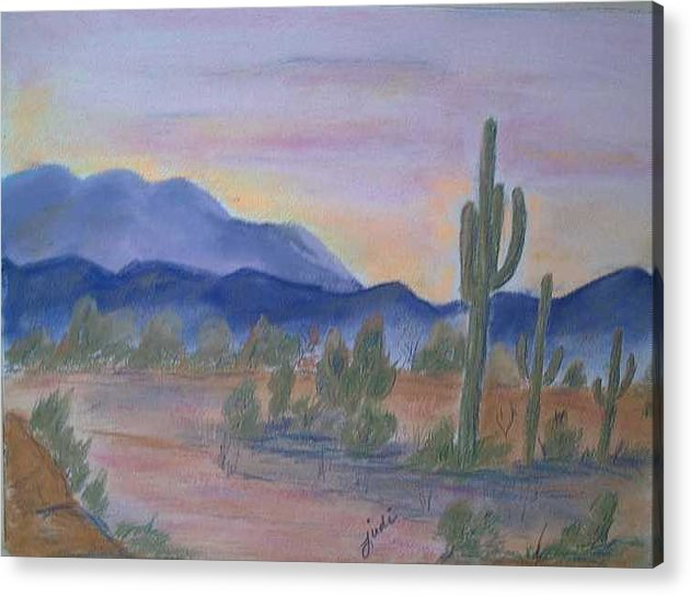 Desert Acrylic Print featuring the painting Desert Aglow by Judi Pence