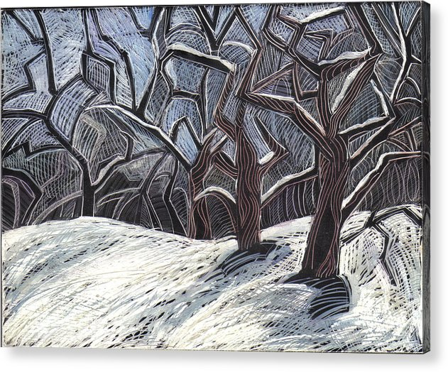 Maine Landscape Acrylic Print featuring the drawing Early Snow by Grace Keown