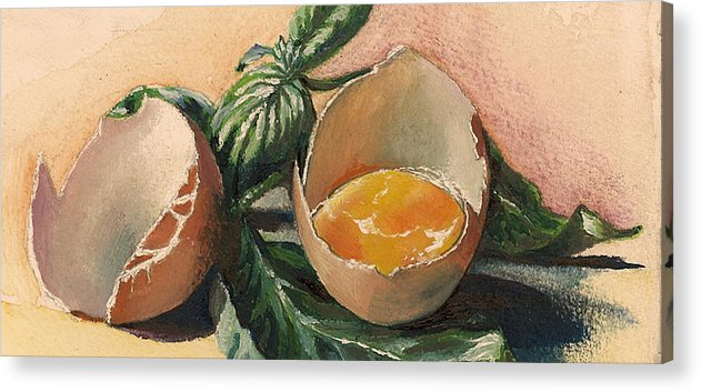 Easter Egg Acrylic Print featuring the painting Egg And Basil by Alessandra Andrisani