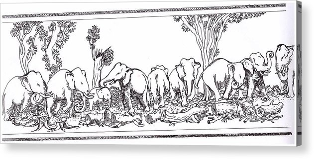 A Group Of Asian Elephants Acrylic Print featuring the drawing Elephants by Balakrishnan Pt