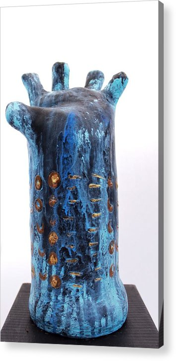 Abstract Acrylic Print featuring the sculpture Fabulas Blue Hand by Mark M Mellon