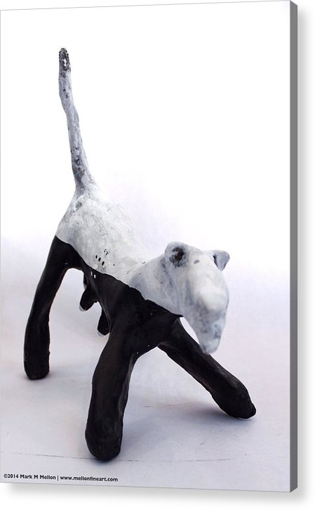 Dog Acrylic Print featuring the sculpture Fabulas Canis Black And White Female by Mark M Mellon