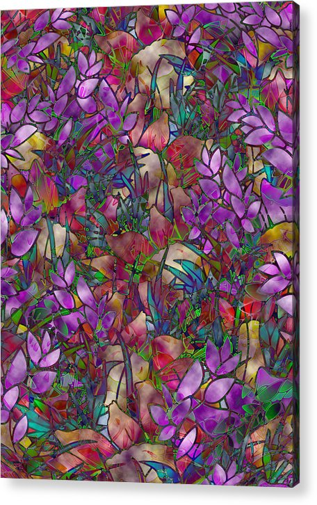Art Acrylic Print featuring the glass art Floral Abstract Stained Glass by Medusa GraphicArt