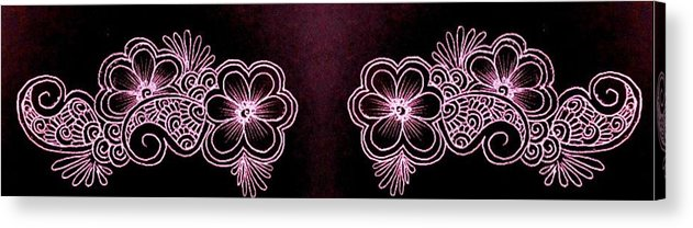 Henna Acrylic Print featuring the drawing Floral by Jessica Petty