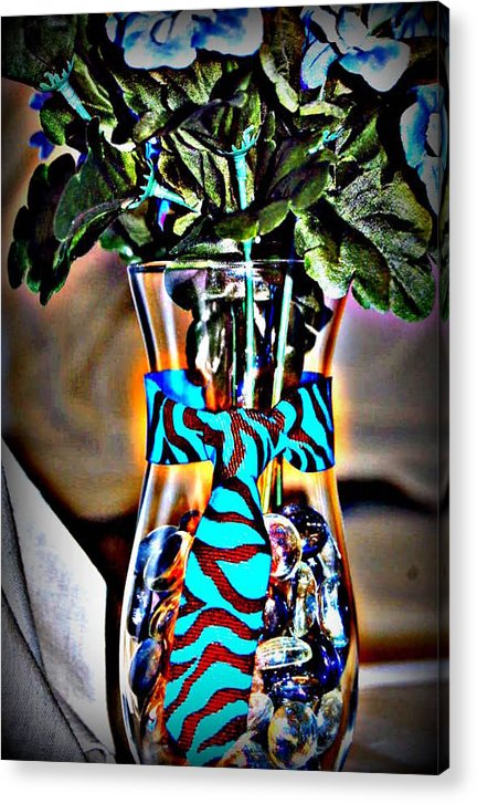Baby Shower Acrylic Print featuring the glass art Flower Tie by Joyce Brooks
