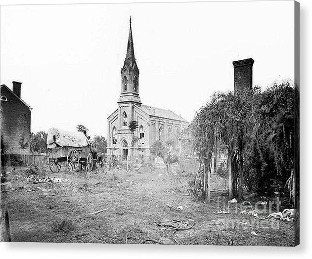 Fredericksburg Baptist Church Acrylic Print featuring the photograph Fredericksburg Baptist Church damaged by battles 1864 by David Call