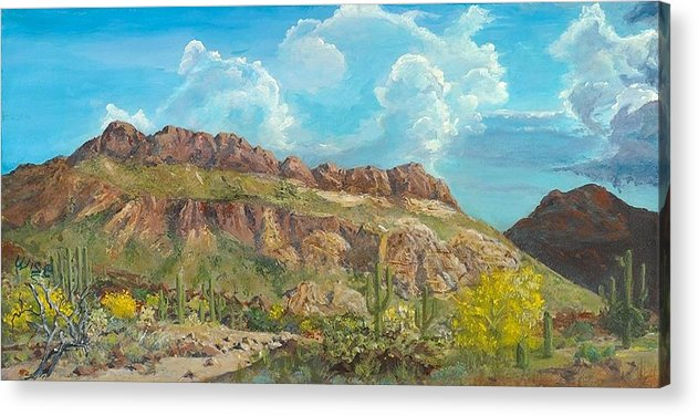Cliffs Acrylic Print featuring the painting Golden Gate Mountain by John Wise