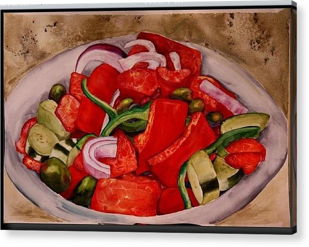 Acrylic Print featuring the painting Greek salad by Diane Ziemski