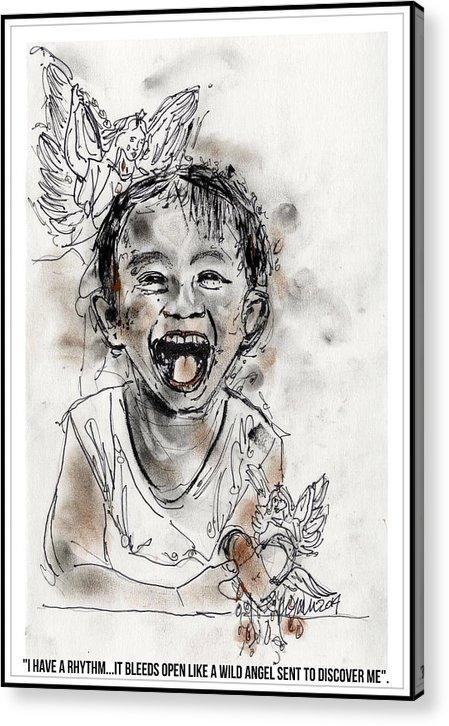 Child Acrylic Print featuring the drawing I have a rhythm by Lynn Gray