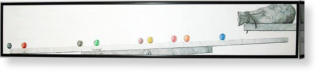 Marbles Acrylic Print featuring the drawing Lemmings by A Robert Malcom