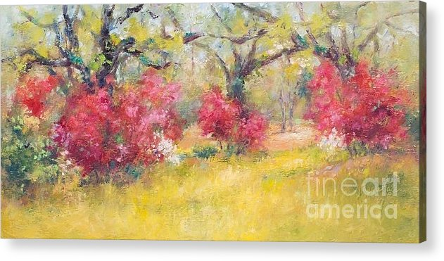 Landscape Acrylic Print featuring the painting Live Oaks And Azaleas by Margie Tate