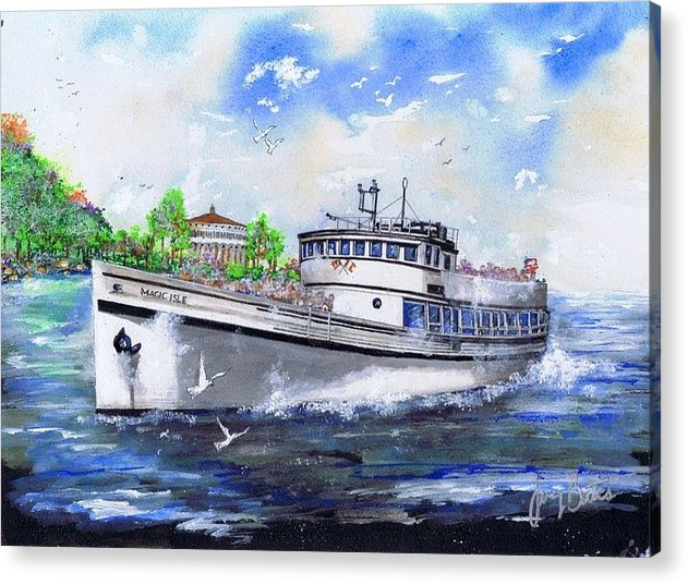 Catalina Acrylic Print featuring the painting Magic Isle by Jerry Bates