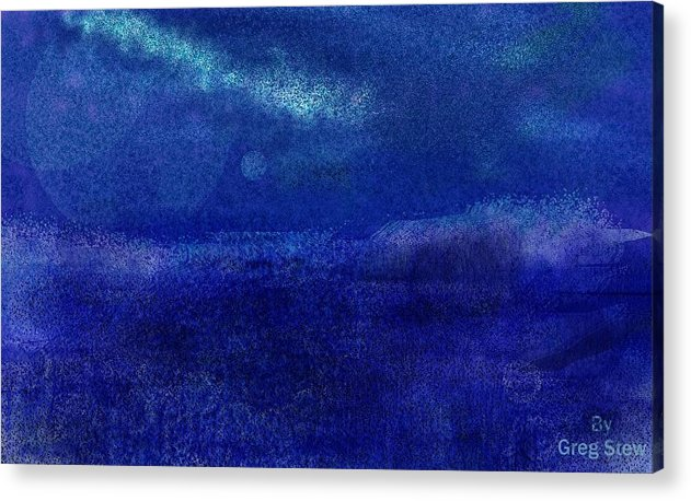 Sea Acrylic Print featuring the Midnight Sea Passage by Greg Stew