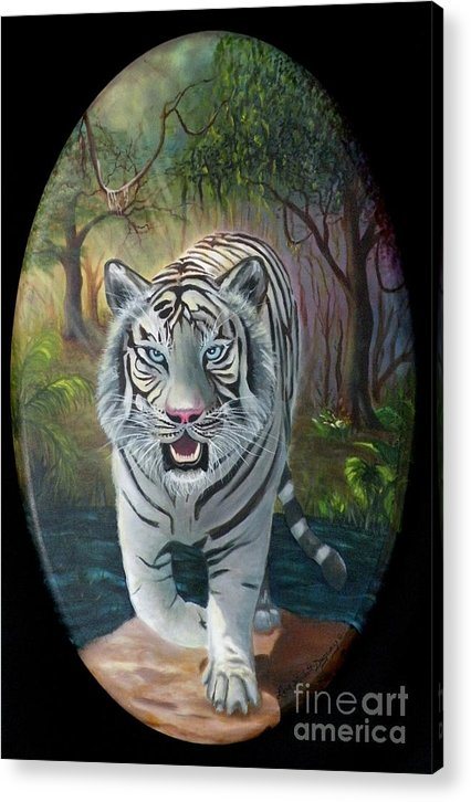 White Tiger Acrylic Print featuring the painting Montecore The Enchanter by Lora Duguay