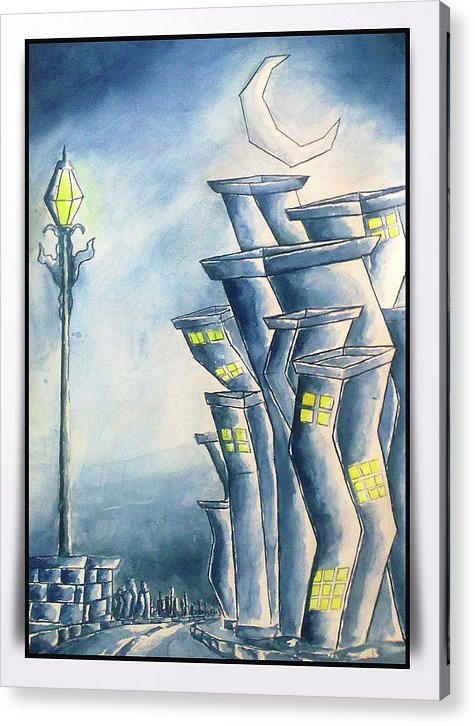 City Acrylic Print featuring the painting Night City by Abhilash Am