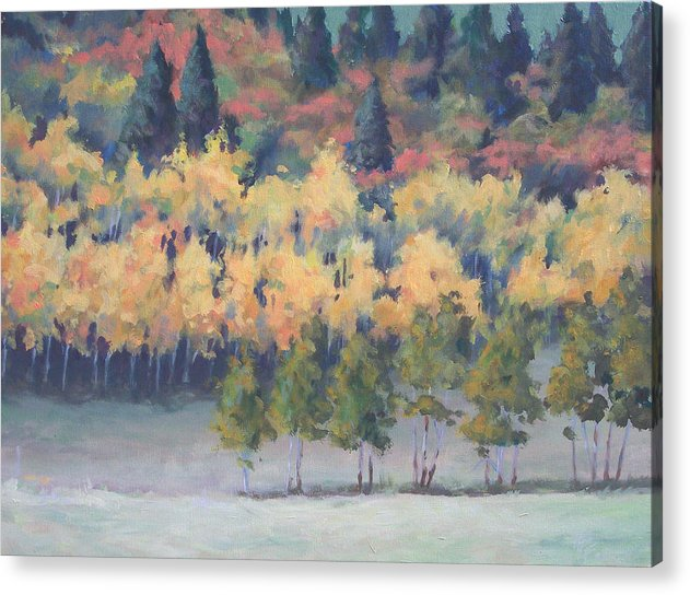Landscape Acrylic Print featuring the painting Park City Meadow by Philip Fleischer