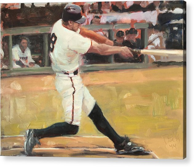 Hunter Pence Acrylic Print featuring the painting Pence 2014 by Darren Kerr