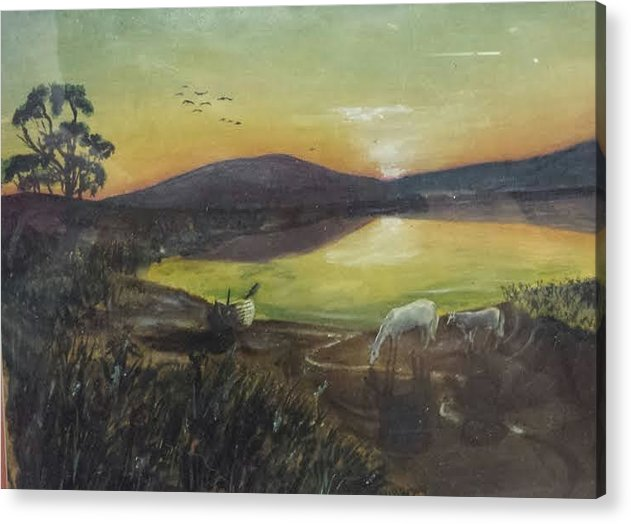 Landscape Acrylic Print featuring the painting Ponies At Sunset by Brent Vall Peterson