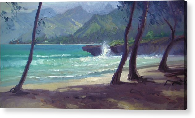 Hawaii Acrylic Print featuring the painting Pounders IIi by Richard Robinson